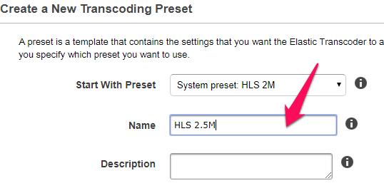Elastic Transcoder preset name