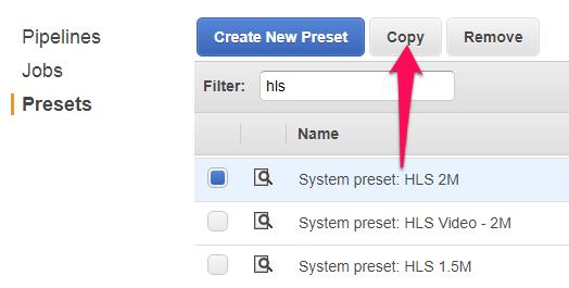 Elastic transcoder copy preset