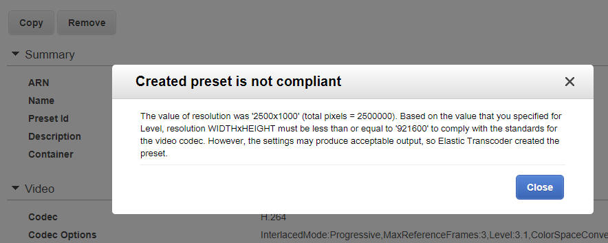 Elastic Transcoder warning of non-compliance