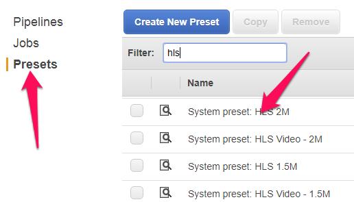 Select Elastic Transcoder preset