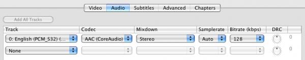 Handbrake Audio settings