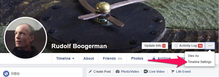 Facebook Captions settings