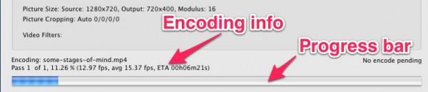 handbrake encoding progress