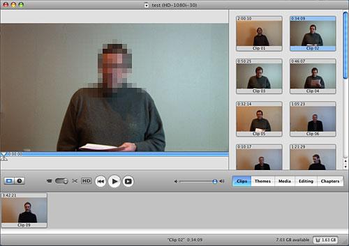 iMovie interface