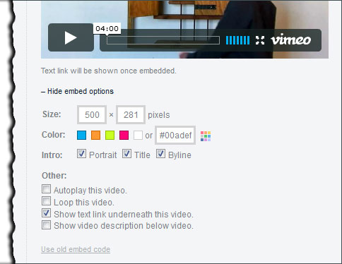 Vimeo customization options