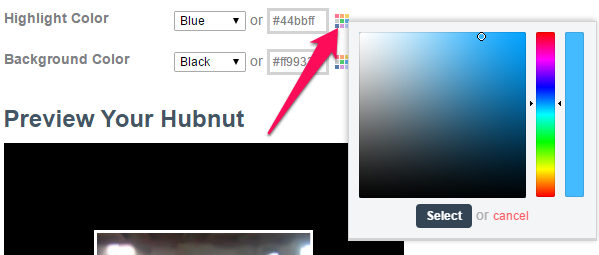 Hubnut color selector
